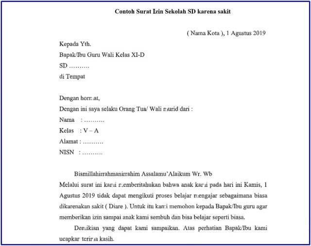 surat izin siswa SD