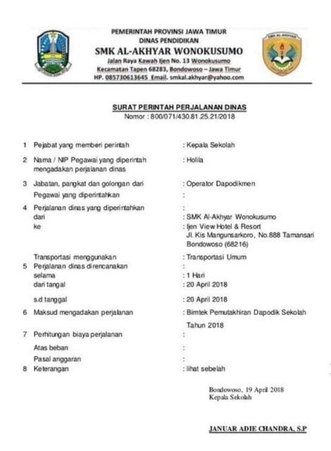 surat dinas penugasan