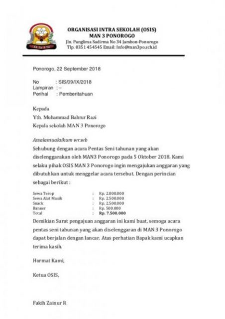 surat dinas osis