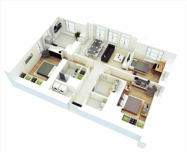 20 Inspirasi Desain Rumah 4 Kamar Untuk Hunian Keluarga Besar