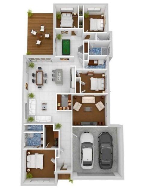 denah rumah 4 kamar memanjang