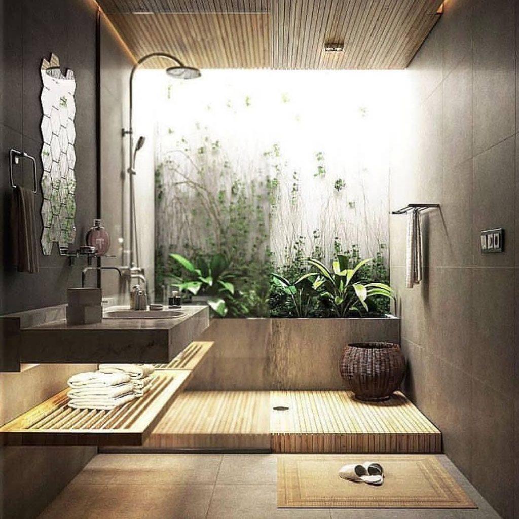 taman di pojok kamar mandi
