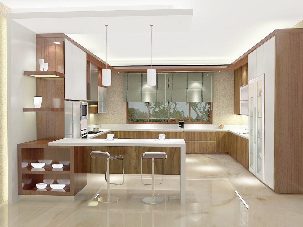 Hasil gambar untuk Desain  pantry Bentuk Huruf U
