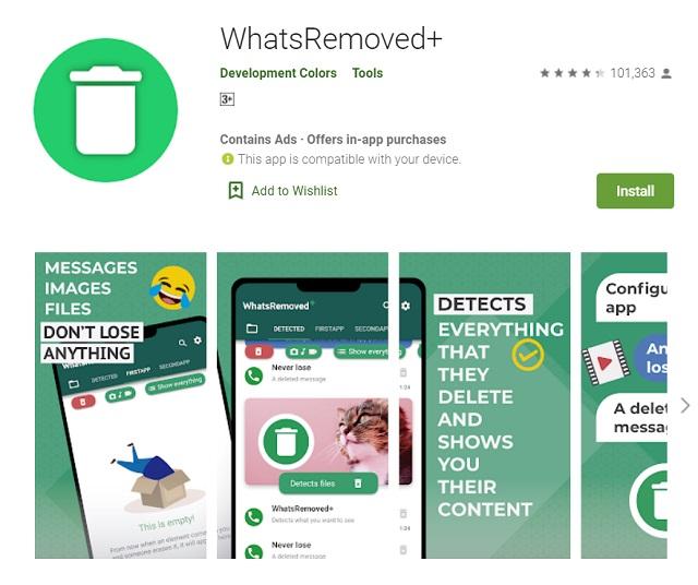 cek pesan terhapus di WhatsRemoved+