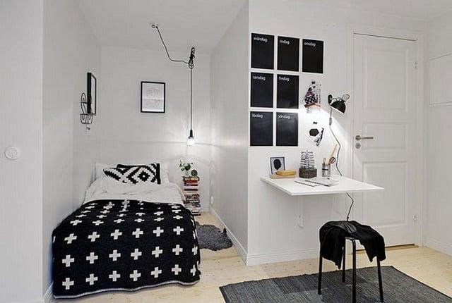 kamar tidur kecil dengan niche