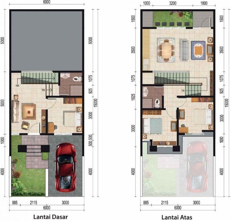 Inspirasi Denah Rumah 2 Lantai Type 36 dan Panduan ...