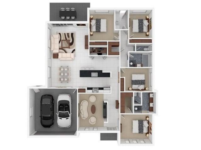denah rumah 4 kamar