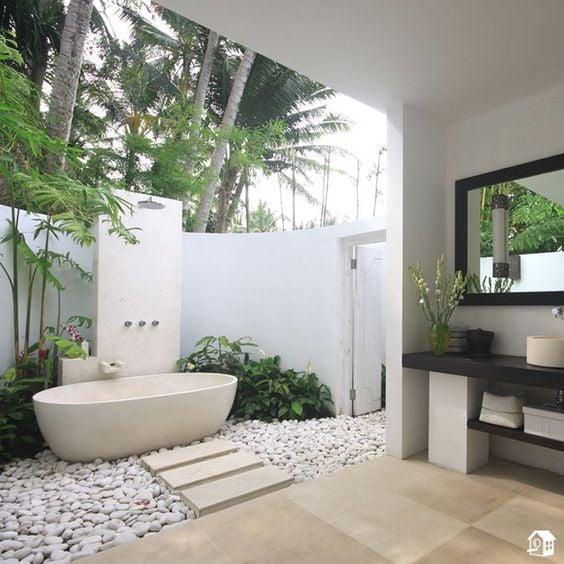 9 Ide Desain Kamar Mandi Terbuka Di Rumah Ala Hotel Mewah