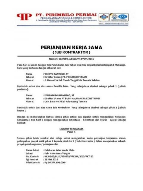 surat dinas perjanjian