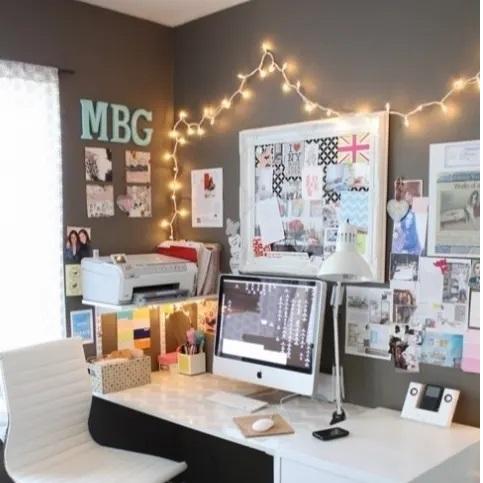 lampu tumblr dekorasi meja belajar