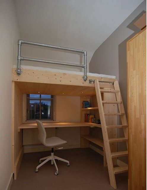 desain kamar kost ukuran 3x3 dengan lantai mezzanine