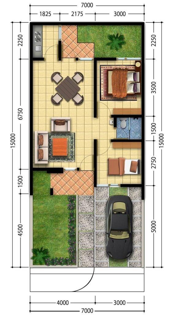 10 Inspirasi Denah Rumah Minimalis 7x12 Lengkap Dengan Desainnya