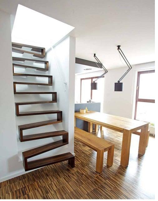 desain tangga rumah sempit zigzag