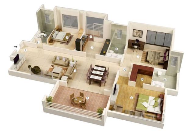 denah rumah dengan 3 kamar