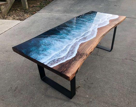 meja motif air laut