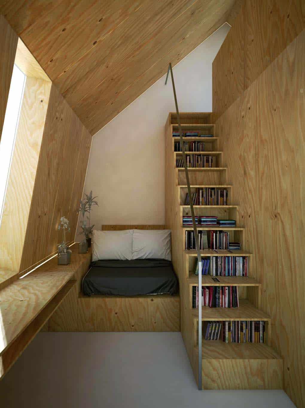 desain kamar tidur di plafon beratap miring