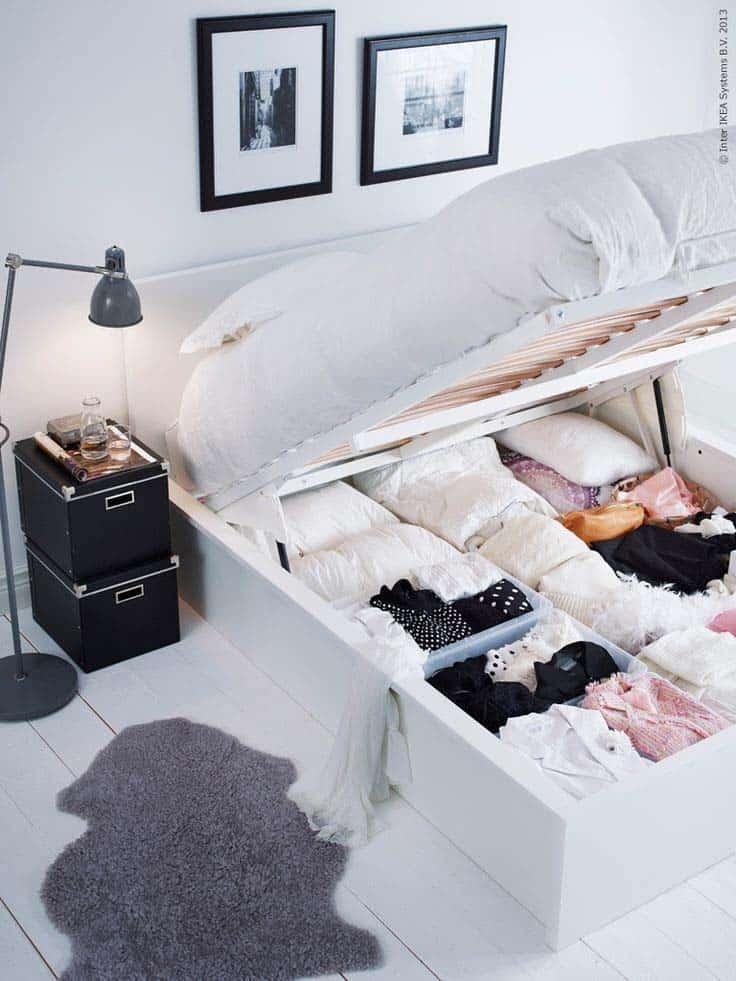 lemari penyimpanan di bawah kasur