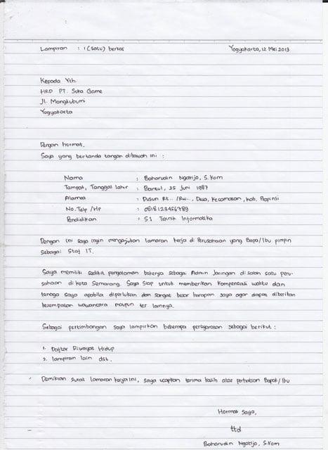 9 Contoh Surat Lamaran Kerja Tulis Tangan Yang Baik Dan Benar