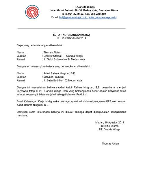 surat referensi kerja karyawan tetap