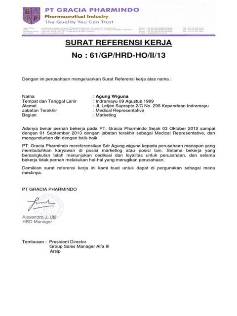 surat referensi kerja staf