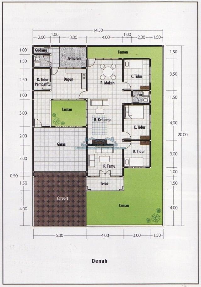 Rumah 3 Kamar Ukuran 7x9