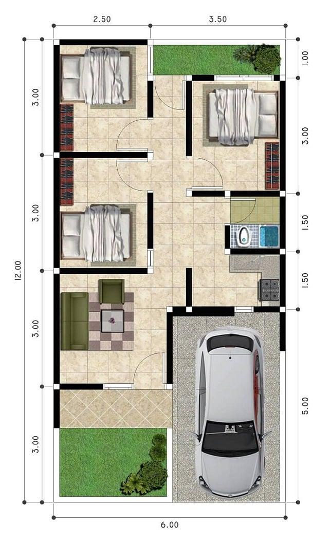 denah rumah ukuran 7x9