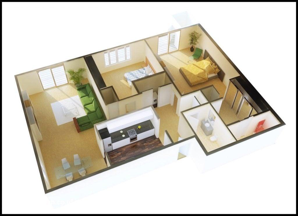 Contoh Denah Rumah Sederhana 2 Kamar Tidur 1