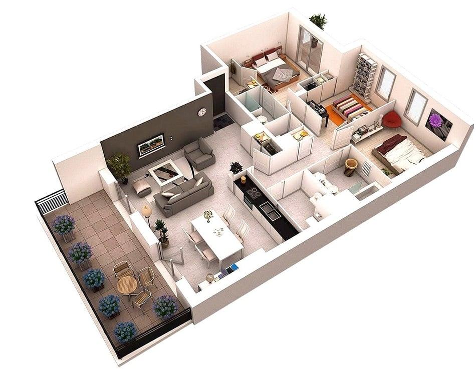 7 Desain Rumah 6x9 3 Kamar Tidur Berkonsep Modern Dan Paling Populer