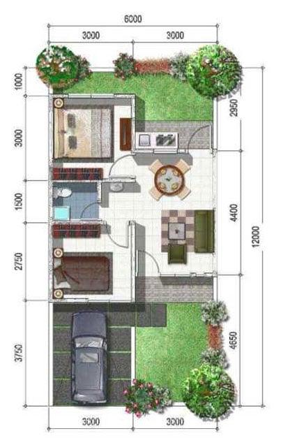 7 Denah Desain Rumah Sederhana 6x12 Pas Untuk Keluarga Kecil