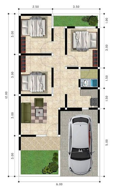 7 Denah Desain Rumah Sederhana 6x12. Pas Untuk Keluarga Kecil!