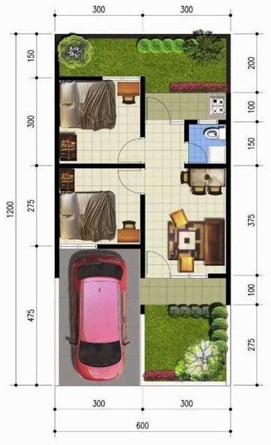 desain rumah sederhana 6x12