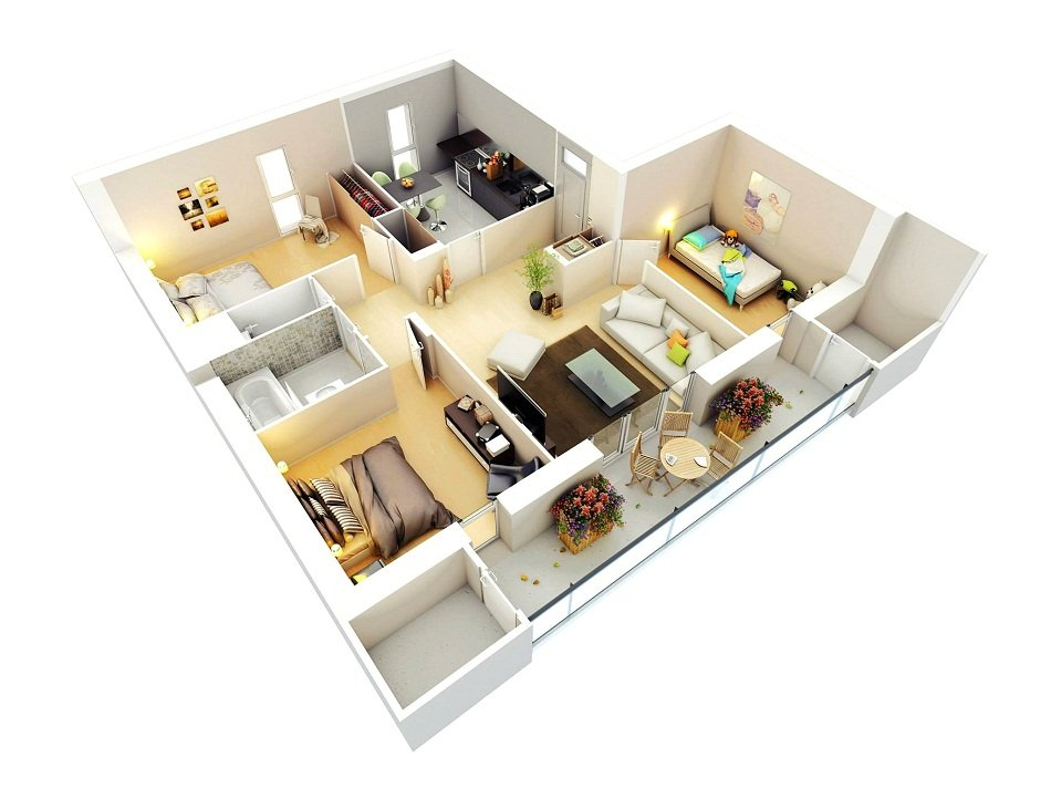 Desain dan Denah Rumah 3 Kamar Tidur