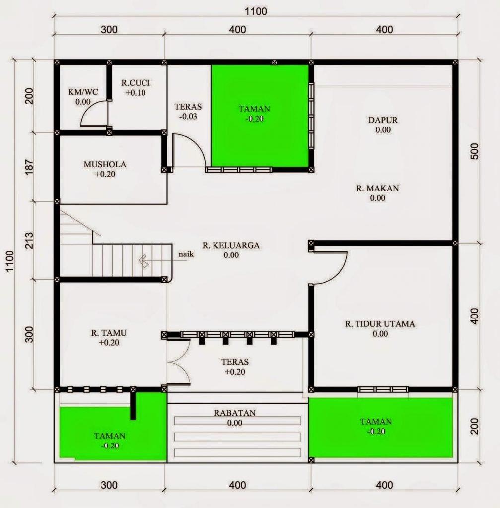 gambar denah rumah dengan ruang cuci