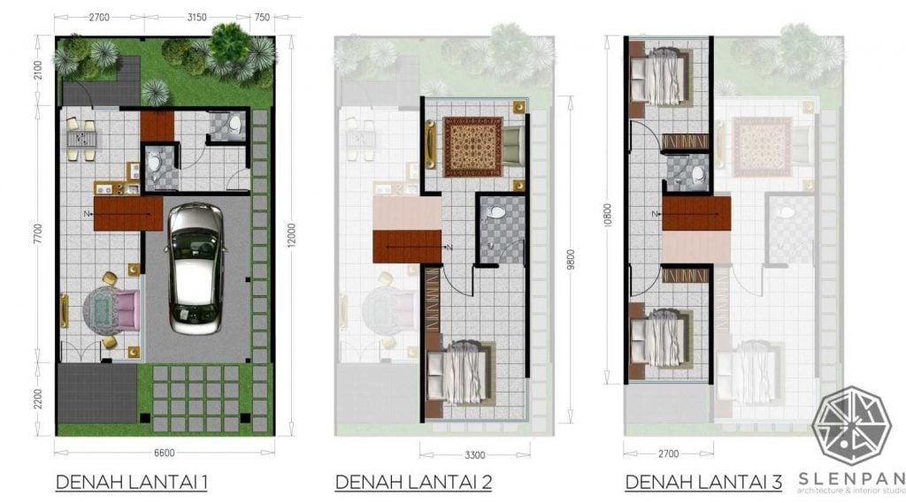 Gambar Denah Rumah Mungil dengan 3 Lantai