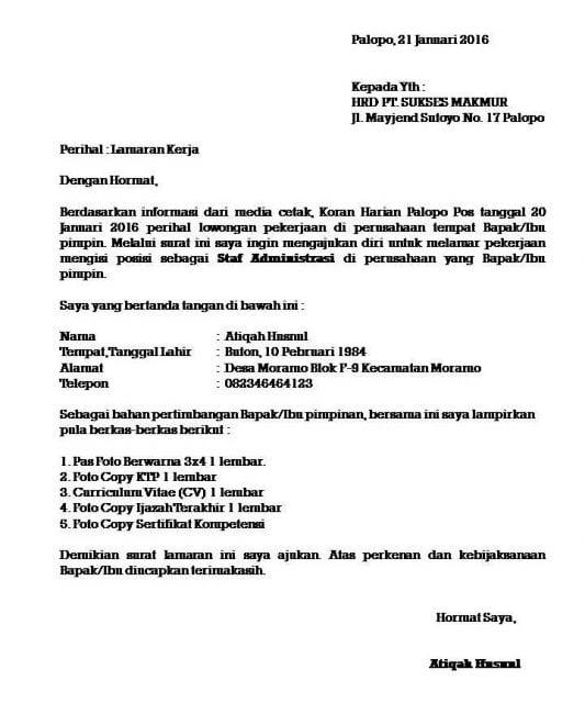 Kop Surat untuk Melamar Pekerjaan
