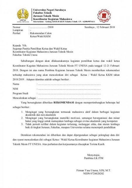 Surat Rekomendasi Melamar Beasiswa
