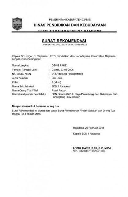 Surat Rekomendasi Melamar Pekerjaan