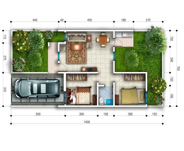 Rumah 2 Kamar Tidur dengan Dapur Terbuka