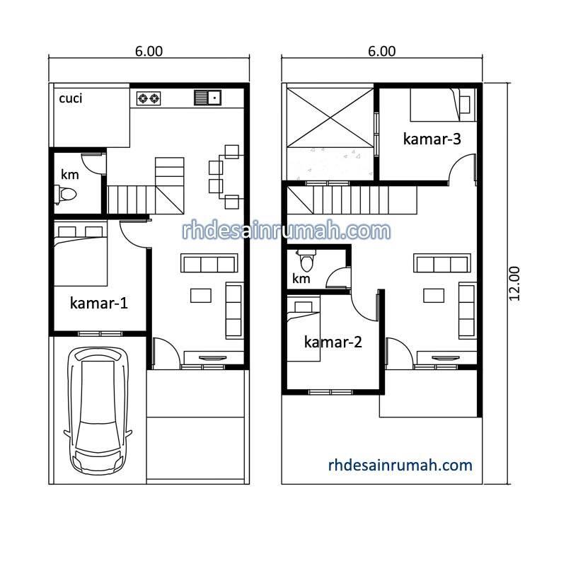 Rumah 2 Lantai dengan 3 Kamar Tidur
