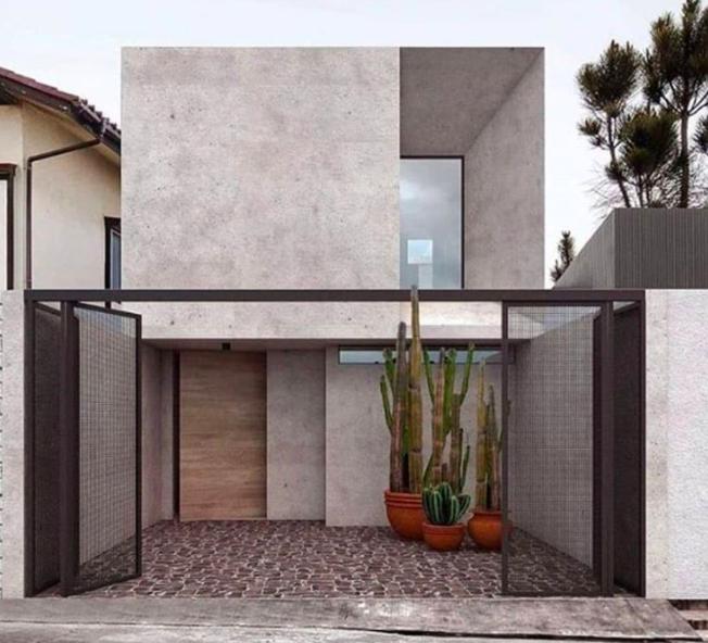 desain rumah minimalis 2 lantai abu-abu