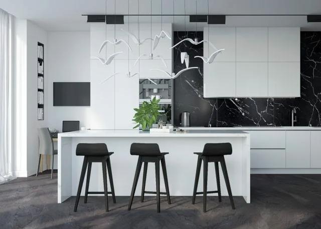 motif keramik lantai dapur marmer hitam mewah