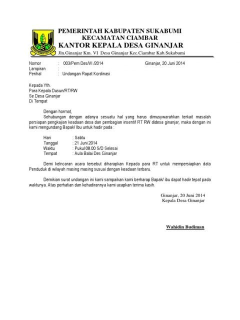 Surat Undangan Resmi Desa