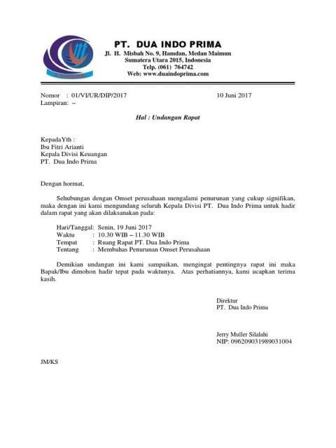 Surat Undangan Resmi Perusahaan
