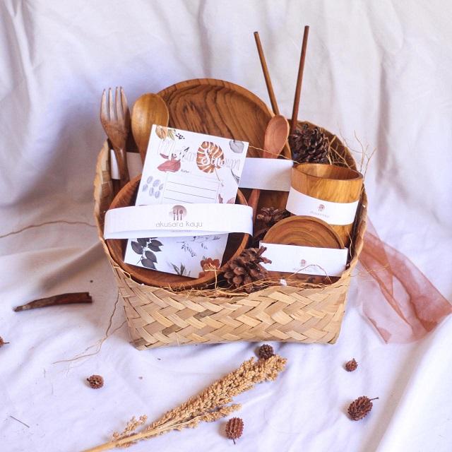kerajinan kayu rustik alat makan