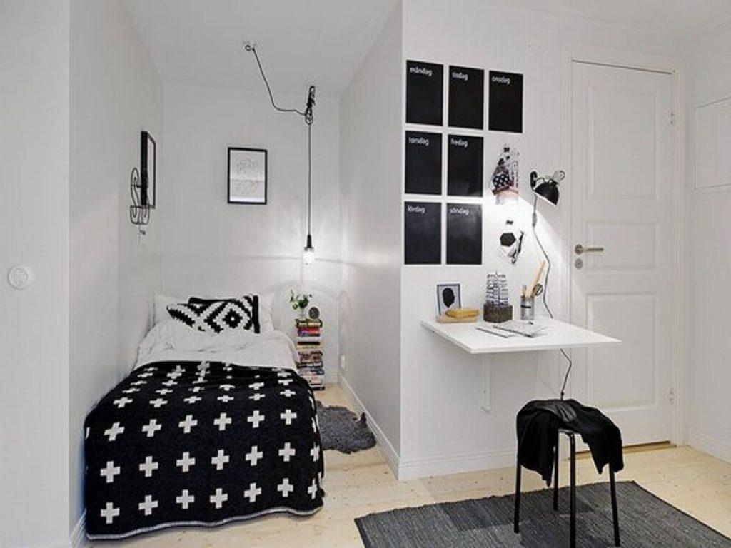 kamar bernuansa hitam putih minimalis