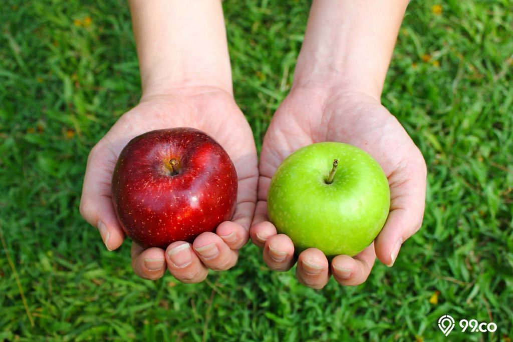 apel hijau dan merah