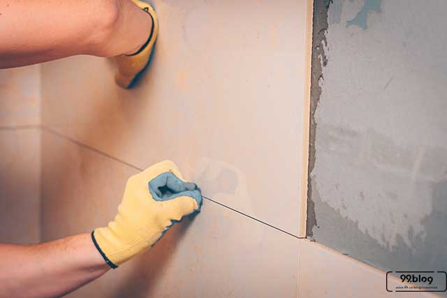 cara memasang dinding marmer