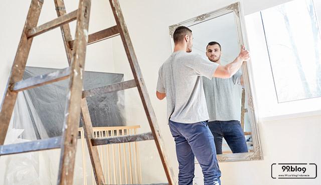 cara pasang kaca cermin