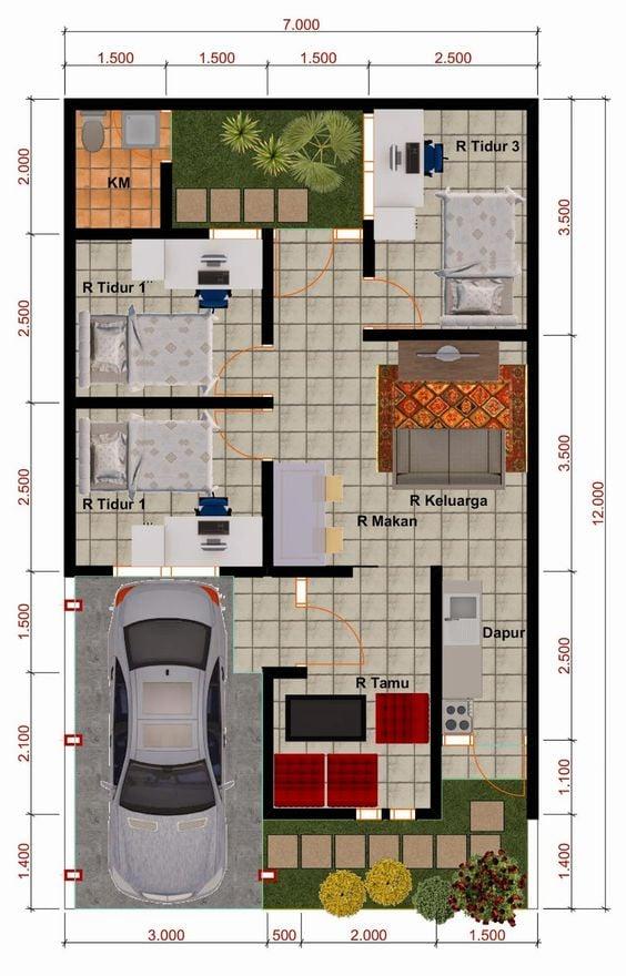 5 Ide Denah Rumah Minimalis 3 Kamar Tidur Type 36 Terfavorit 2020