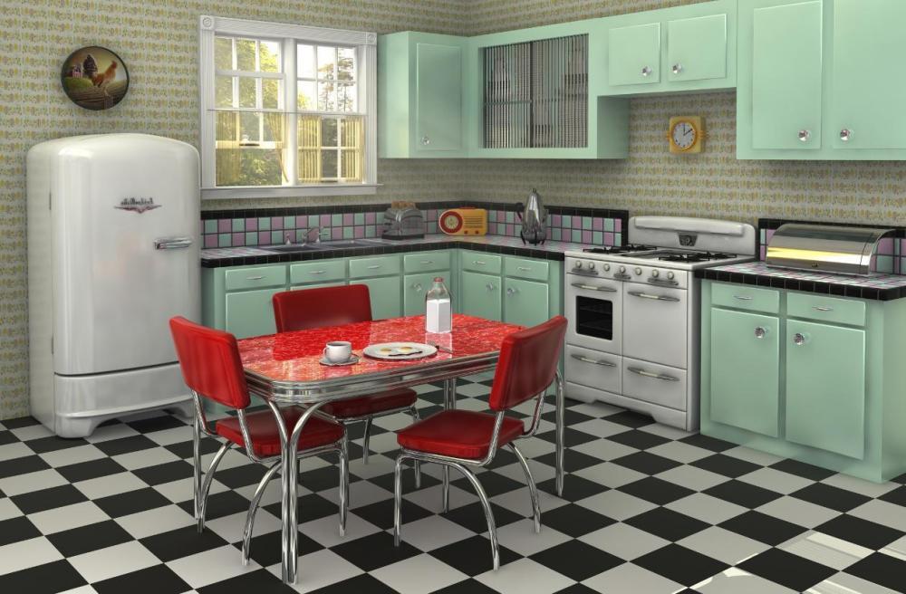 desain lantai catur dapur klasik